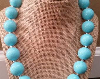 SALE!!!! Simply turquoise & rhinestone chunky bead necklace