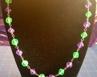 """Green and Purple """"Joker"""" Dice Necklace"""