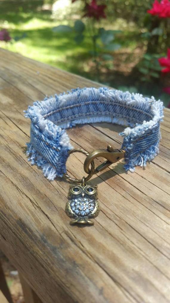 Denim Bracelet With Owl Charm