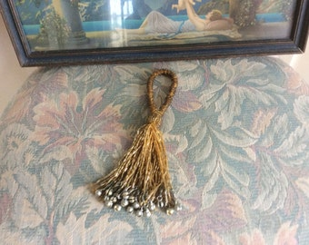 Antique, Vintage Tassel, Gold Glass beads,  Boho with Metal Pieces on Ends