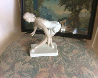 Art Deco Royal Dux Ballerina, Czechoslovakia Bohemia, H.P., Porcelain, Marked