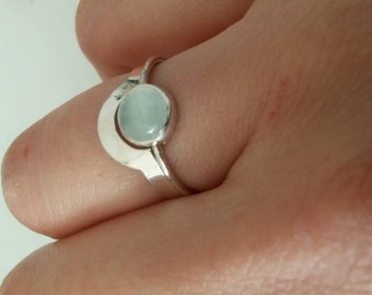 """2 stackable rings """"puzzle""""   silver  and blue aquamarine"""