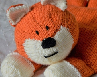 Fox Pyjama Case Knitting Pattern, Fox PJ Case Knitting Pattern, Fox Knitting Pattern