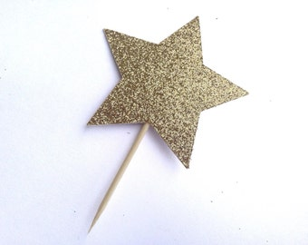 Twinkle twinkle little star cupcake toppers, twinkle twinkle cake topper, gold glitter toothpick, birthday party, first birthday baby shower