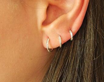 Sterling Silver Hoop Earrings - Silver Hoop Earrings - Tiny Hoop Earrings - Hoop Earrings - Small Hoop Earring - Silver Hoop Tiny,002H