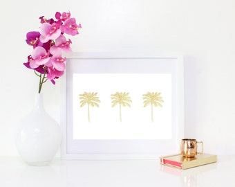 DIGITAL DOWNLOAD, Gold Palm Trees, Palm Tree Art, Palm Tree