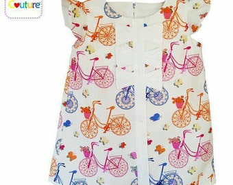 "Printed cotton dress ""Bicycle"" is a hand for girls"