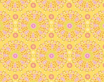 "Dena Designs Sunshine Collection Decorator Linen/Cotton Blend Fabric Circle Medallion in Yellow 54/55"" Wide"