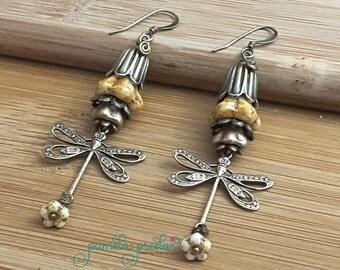 Dragonfly Earrings, Antique Brass Dragonfly Dangle Earrings, Earth Tones Jewelry, No. 068