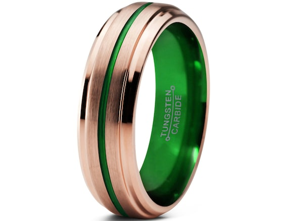 tungsten ring mens green wedding band ring gold by