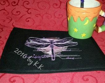 "Mug rug, carpet of Cup, mug rug ""Dragonfly"""