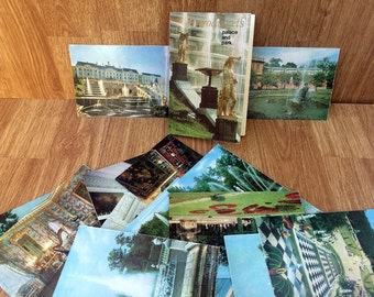 Vintage photos of The Peterhof Palace Set of 16 Russian pictures Petrodvorets palace and park Retro photos Russian photos Saint Petersburg