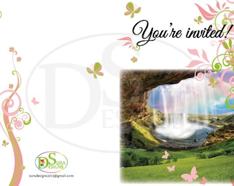 Flowers & Butterflies Personalised Invitation