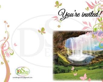 Flowers & Butterflies Personalised Invitation
