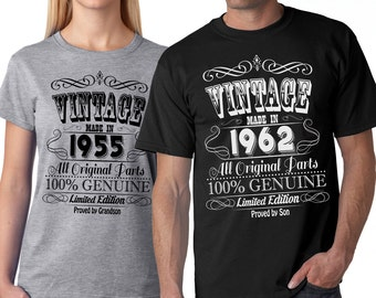 Personalize Vintage Birthday  T-Shirt Custom age