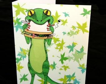 Gecko card, gecko birthday card, lizard card, animal card, blank card A5, animal greetings card