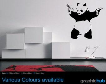Banksy panda with guns wall art sticker decal