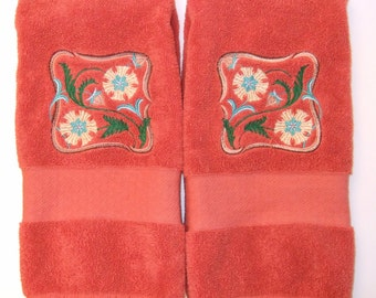 Pair of Embroidered Hand Towels - Set of Two