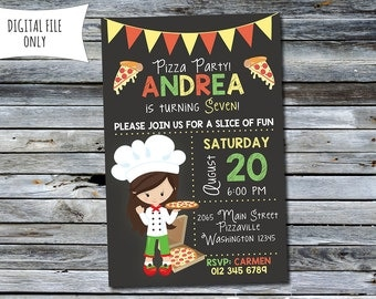 Pizza Birthday Invitation / Girls Pizza Invitation / Pizza Birthday Party (Personalized) Digital Printable File