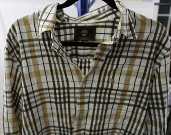 Timberland long sleeve button down shirt size large plaid