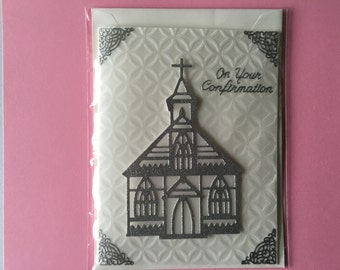 Handmade Beautiful die cut & embossed finely glittered church Confirmation card