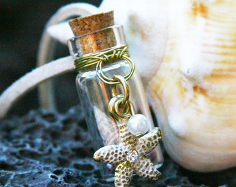Starfish and Seashell Bottle Charm Necklace - Gold Wire-Wrapped