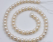 White round freshwater pearl strand 6.5-7mm AA, genuine cultured pearl beads, DIY pearl jewelry, FR330-WS