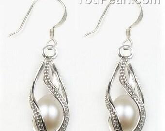 7-8mm white pearl helix cage pearl earrings, freshwater pearl 925 sterling silver hook earrings, genuine pearls teardrop earring,  F2240-WE
