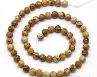 Picture jasper beads, 6mm round, natural genuine stone beads, A grade picture jasper stone, jasper gemstone bead for jewelry making, JSP2020
