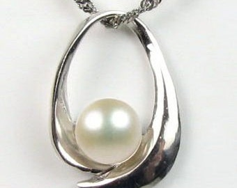 White pearl pendant, cultured real pearl pendant, sterling 925 silver freshwater pearls necklace, ladies bridal jewelry, 8-9mm, F2060-WP