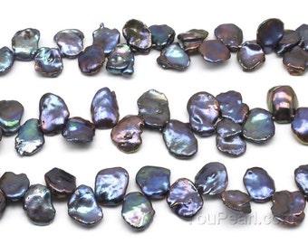 Keshi petal pearl, 12-15mm peacock black freshwater pearl strand, natural Keishi cornflake pearls, high luster pearls, full strand, FK850-KS