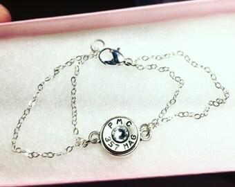 double Sterling silver chain bullet bracelet