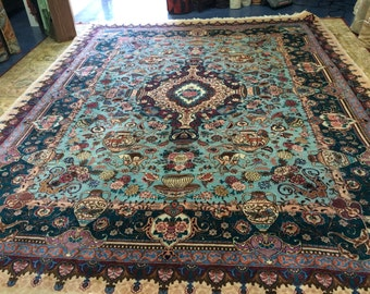 Pictorial Mashhad Rug, Size - 9'9'' x 12'8'' Hand knotted