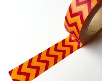 Washi Tape - Orange and Red Chevron - Masking Tape - 1.5cm x 10yd (9.1m)