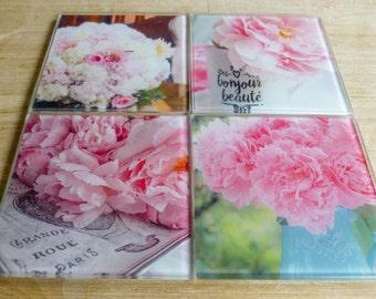 Shabby Chic Pink Peony Coasters ~ Feminine Gift, Pink Home Decor, Floral Print, Teal Decor, White Glass Coaster Set, Botanical Flower Photo