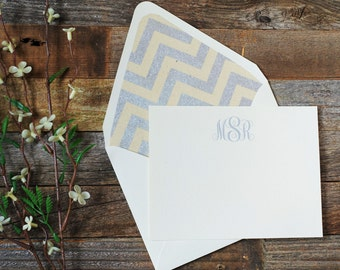Classic Chevron and Antointette Monogram Personalized Stationery