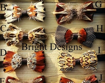 Beautiful handmade feather bow ties
