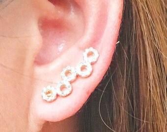 10% off -Circle ear climbers   ear climber earrings   ear crawlers   ear crawler earrings   ear sweeps   ear pins