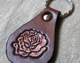 LEATHER KEYCHAIN - ROSE // Flower // Party favor // Little gift //Leather key fob // Leather keyfob // Keychain // Keyfob // Keyring //