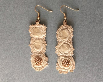 Earrings champagne color, embroidered and beaded