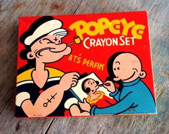 Popeye Crayon Set |  Vintage Popeye Crayons in Tin |  The American Crayon Company | Sandusky, Ohio Made in USA