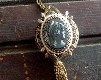 Vintage Lucerne Swiss Cameo Watch Necklace    Hematite   Gold Tassle