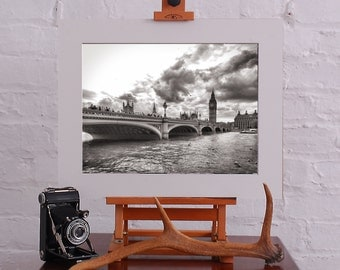Westminster Bridge and Big Ben Black And White Baryta Print 16x12