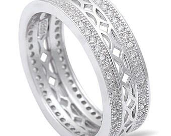 Sterling Silver .925 Women's Cubic Zircona Diamond CZ Vintage Eternity Wedding Band Ring