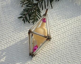 Glass Christmas ornament vintage bugle beads Christmas tree decor glass beads construction antique Christmas decoration vintage USSR 1940s