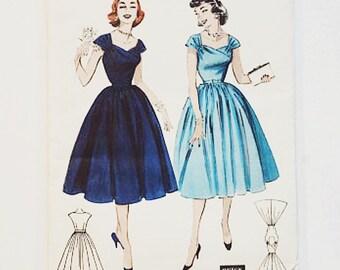 Simplicity 7021 Full Skirted Dress Pattern   50s Dress Pattern   50s Sewing Pattern