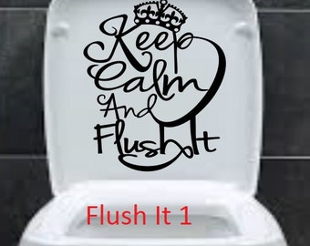 Keep Calm and flush It Toilet Seat Bathroom Funny Sticker Free Shipping decorative vinyl decor decoration decal cheap  Removable poop on