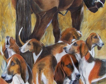 Painting on canvas depicting a hunting, dogs and horses, format: 50cmx60cm