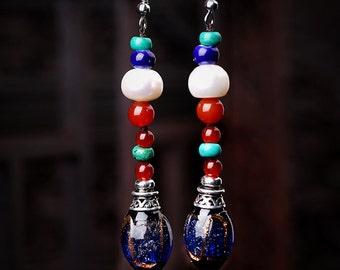 Pearl agate glass earrings
