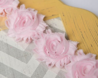 Light Pink shabby flower trim by the yard, pink shabby rose trim, wholesale flower trim, shabby trim, chiffon trim, flowers by the yard